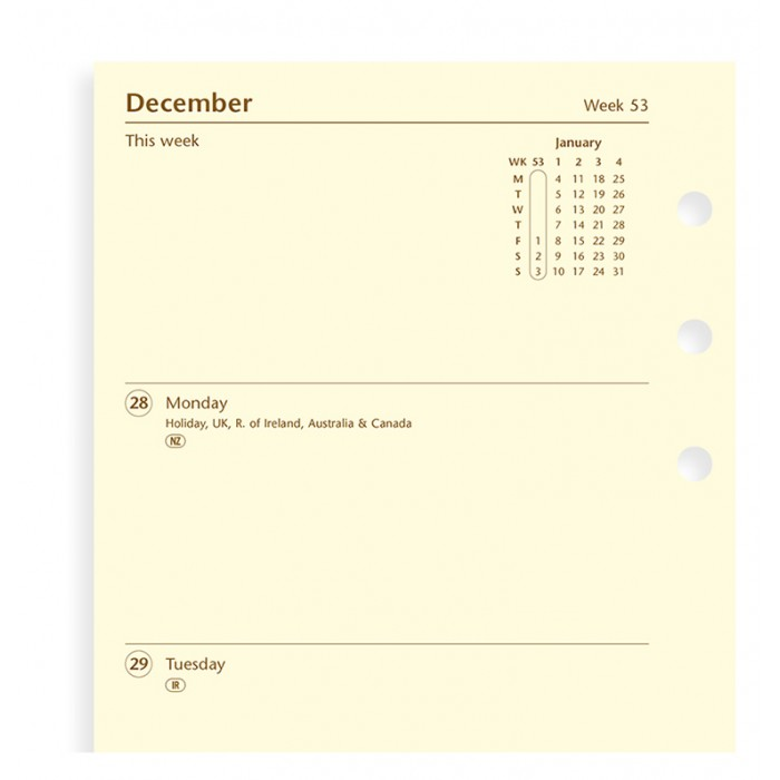Week On Two Pages Diary Personal 2021 Cotton Cream