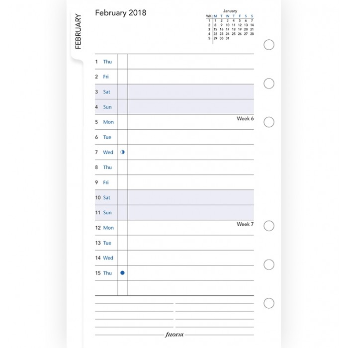 Month On Two Pages Diary With Tabs Personal