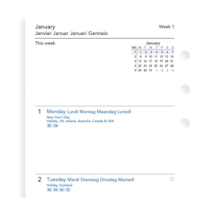 Week On Two Pages Diary Personal 2019
