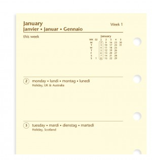 Week On Two Pages Diary Mini 2021 Cotton Cream