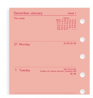Week On Two Pages Diary Pocket Pink
